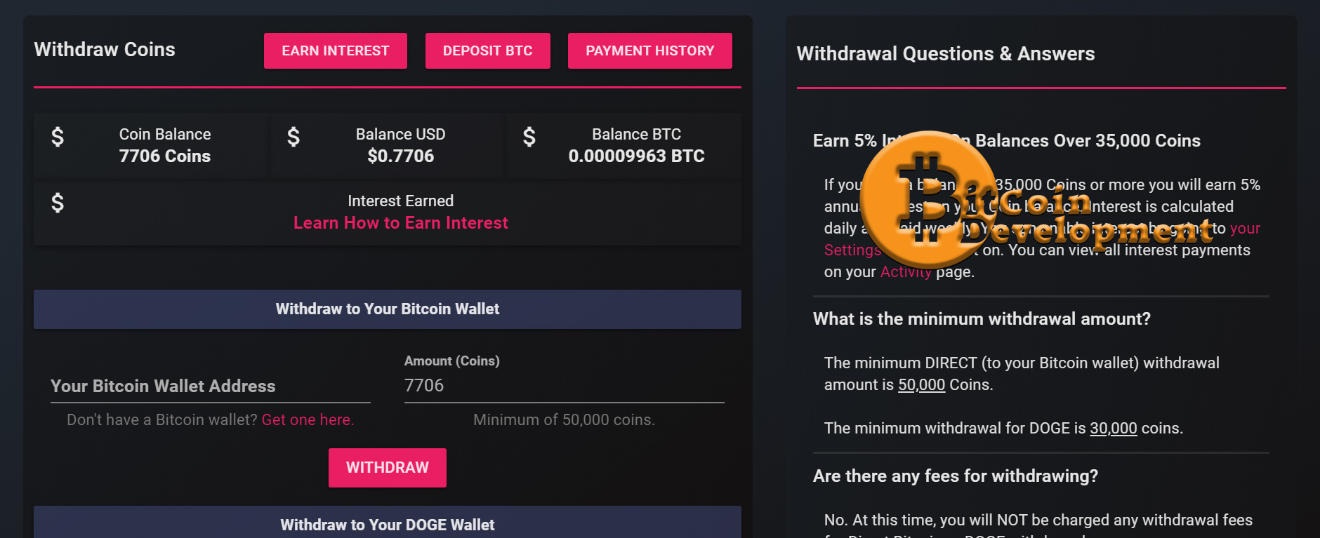 Cointiply Withdraw